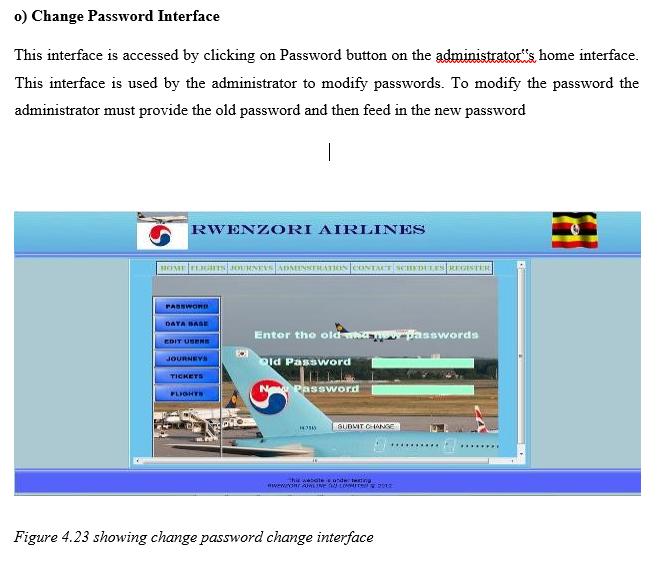Change Password Interface