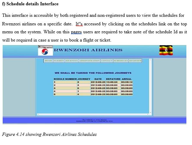 Schedul Details Interface