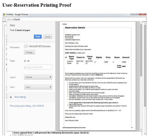 User Reservation